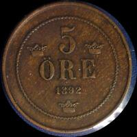 SWEDEN 1892 5 ORE OLD WORLD COIN