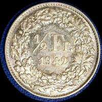 SWITZERLAND 1942  1/2 FRANC OLD WORLD SILVER COIN