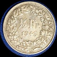 SWITZERLAND 1943  1/2 FRANC OLD WORLD SILVER COIN