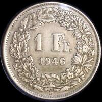 SWITZERLAND 1946 1 FRANC OLD WORLD SILVER COIN HIGH GRADE LOW MINTAGE 624 000