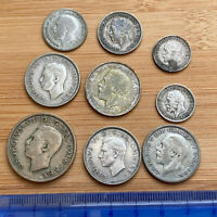9X GEORGE V AND VI PRE 47 COINS: 2 SHILLINGS TO 3DS MIXED GR