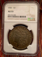 1901 P MORGAN SILVER DOLLAR NGC AU55 KEY DATE  AND TONED