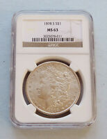 1898-S U.S. MORGAN SILVER DOLLAR  NGC CERTIFIED & GRADED MINT STATE 63