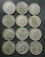 VINTAGE GREAT BRITAIN COIN LOT   12 KING GEORGE VI HALF CROW