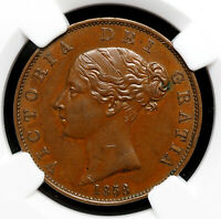 GREAT BRITAIN. VICTORIA 1858 HALFPENNY NGC AU