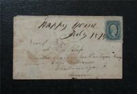 NYSTAMPS US CSA CONFEDERATE STAMP  11 USED  ON COVER $125   M7X1160