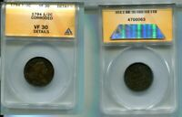 1794 LIBERTY CAP HALF CENT TYPE COIN ANACS VF30 DETAILS CORRODED