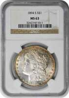 1894-S MORGAN SILVER DOLLAR MINT STATE 63 NGC
