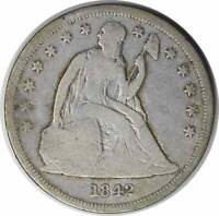 1842 LIBERTY SEATED SILVER DOLLAR VG UNCERTIFIED