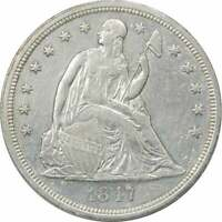 1847 LIBERTY SEATED SILVER DOLLAR EF UNCERTIFIED
