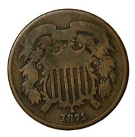 1871 TWO CENT PIECE 2C UNITED STATES COIN KM94