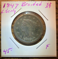 1847 LARGE CENT BRAIDED LIBERTY US COIN