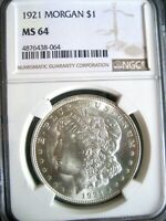 1921 MORGAN DOLLAR, NGC MINT STATE 64 - FINEST KNOWN -  INTRIGUING VAM 3AM3