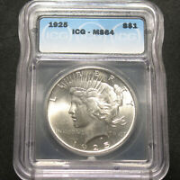 1925 U.S. SILVER PEACE DOLLAR $1 ICG MINT STATE 64 90 SILVER