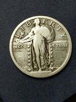 STANDING LIBERTY QUARTER. DATE? TYPE 2A.  FINE CONDITION.FEEL LUCKY?