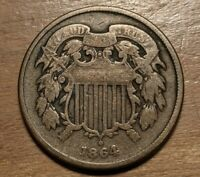 1864 TWO CENT PIECE HIGH GRADE 180 DEGREE ROTATED REVERSE UNITED STATES COIN