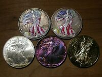 AMERICAN SILVER EAGLE - COLORIZED, TONED, ETC - LOT OF 5