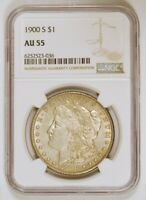 1900 S MORGAN SILVER DOLLAR COIN GRADED AU55 BY NGC FROM THE SAN FRANCISCO MINT