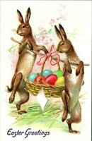 C51 0316 BUNNIES AND EGGS EASTER GREETINGS TUCK'S 1900 10S P