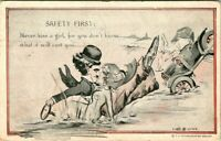 C51 0904 SAFETY FIRST COMIC 1900 10S POSTCARD.
