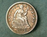1847 SEATED LIBERTY SILVER HALF DIME HIGH GRADE UNITED STATES COIN