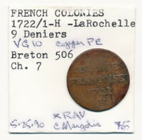 1722/1 H FRENCH COLONIES 9 DENIERS  SOU  >  OVERDATE MUST SE
