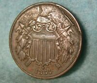 1864 TWO CENT PIECE HIGH GRADE SHATTERED DIE OBVERSE UNITED STATES COIN