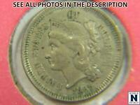 NOBLESPIRIT NO RESERVE 1865 NICKEL COIN 3 CENTS CHOICE AU