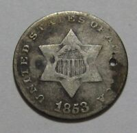 1853 THREE CENT SILVER  TRIME    NICE DETAIL / HOLED   175SA