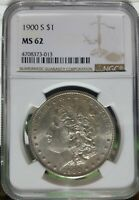1900-S MORGAN SILVER DOLLAR MINT STATE 62 NGC -  COIN