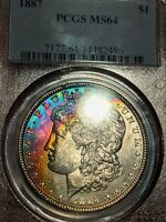 1887-P MORGAN SILVER DOLLAR PCGS MINT STATE 64 RAINBOW NEON TONED COIN REGISTRY QUALITY