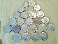 LOT OF 24 1965 1969 CIRCULATED 40  SILVER  KENNEDY HALF DOLL
