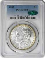 1887 MORGAN SILVER DOLLAR MINT STATE 66 PCGS CAC