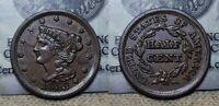 1853 BRAIDED HAIR HALF CENT 1/2C  ABOUT UNCIRCULATED