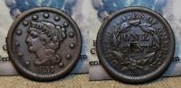 1857 BRAIDED HAIR LARGE CENT 1C DAMAGE REVERSE BETTER DATE