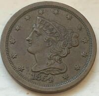 US 1854 HALF CENT 1/2 CIRCULATED COIN  D80  VF /XF