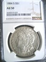1884-S MORGAN SILVER DOLLAR COIN, NGC AU-50 R COVETED DATE