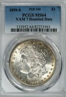 1899-S MORGAN PCGS MINT STATE 64 SILVER DOLLAR, TOP 100 VARIETY VAM-7 DOUBLED DATE