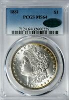 1881 MORGAN PCGS MINT STATE 64 CAC-VERIFIED SILVER DOLLAR