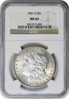1901-S MORGAN SILVER DOLLAR MINT STATE 62 NGC