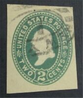 NYSTAMPS US CUT SQUARE STAMP  U323 USED $100    S10X1286