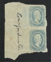 NYSTAMPS US CSA CONFEDERATE STAMP  11 MINT OG H PAIR   S10X1