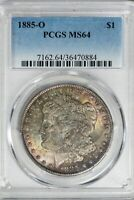 1885-O MORGAN PCGS MINT STATE 64 SILVER DOLLAR W/COLORFUL TONING ON BOTH SIDES