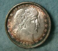 1892 BARBER SILVER QUARTER UNCIRCULATED NICE TONING  UNITED