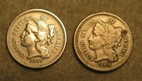 2 PIECE 1865 & 1869 THREE CENT NICKEL UNITED STATES COIN LOT