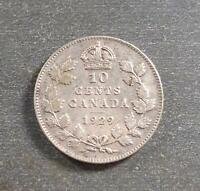 CANADA   GEORGE V SILVER 10 CENTS 1929 TONED