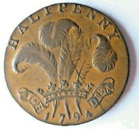 1794 GREAT BRITAIN  SUSSEX  1/2 PENNY   AU   RARE COIN   BIG