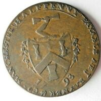 1793 GREAT BRITAIN  MANCHESTER  1/2 PENNY   AU RARE COIN   B