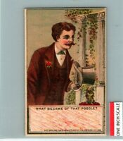 C53 7714 MOVABLE HAT IN THE CARD 1870 1890S VICTORIAN TRADE
