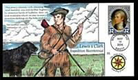 1 WONDER  COLLINS HAND PAINTED FDC W/ COVER 22 LEWIS & CLARK